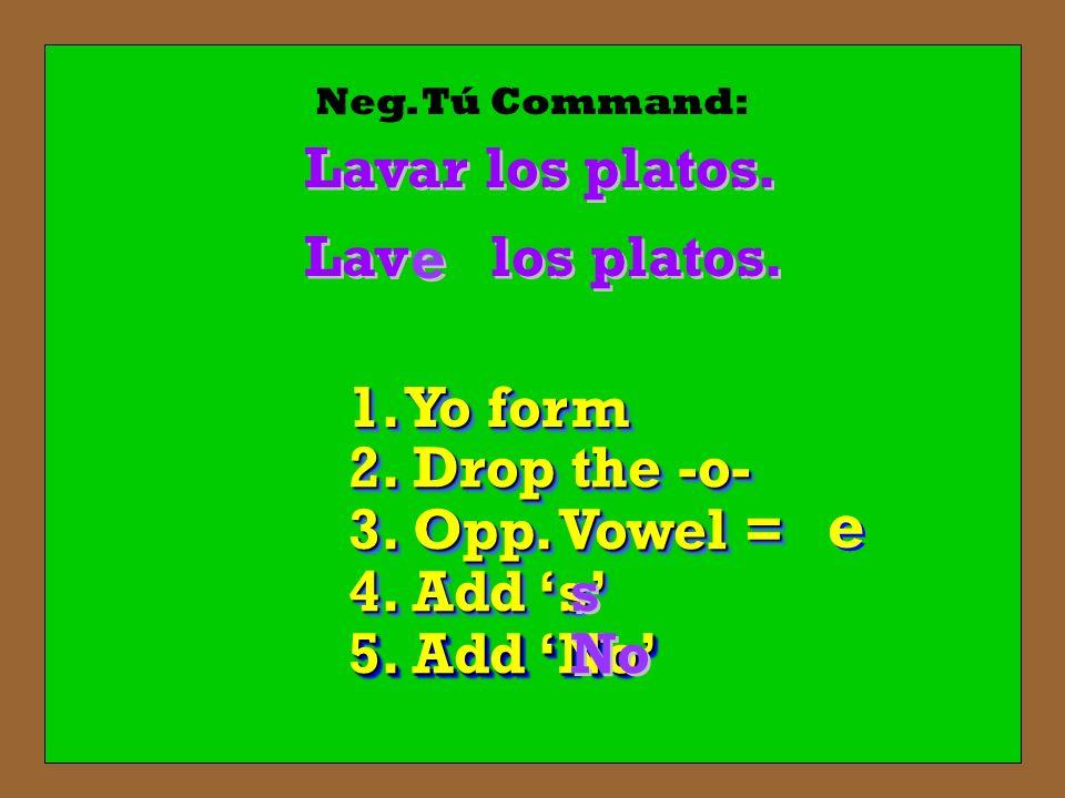 Neg. Tú Command: Lavar los platos. los platos. Lav 1. Yo form 2. Drop the -o- 3. Opp. Vowel = e e e e e e 4. Add s s s 5. Add No No