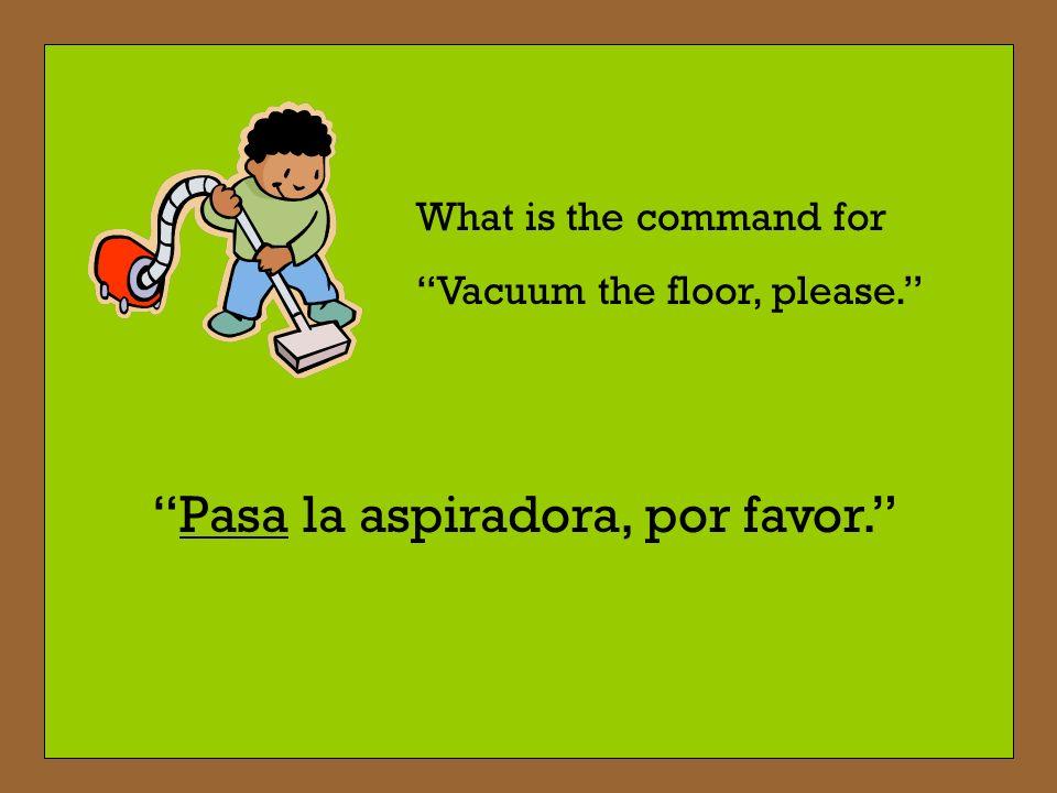 El Vocabulario: Limpiar el cuarto - To clean the room Pasar la aspiradora - To vacuum Planchar - To iron Quitar el polvo - To dust Sacar la basura - T
