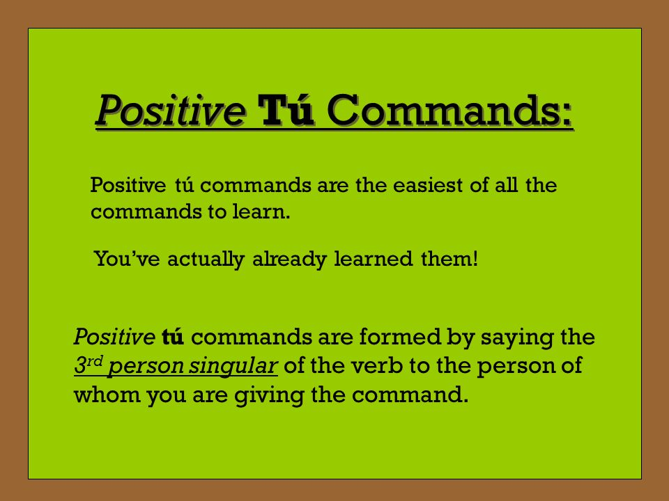Lets try LEVANTARSE Since our command is affirmative, attached the pronoun to the end of the verb.