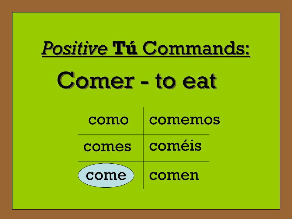 Positive Tú Commands: ¿? Thats right. Even though our subject istú when giving a command, we use the 3 rd person singular of the verb to address our p