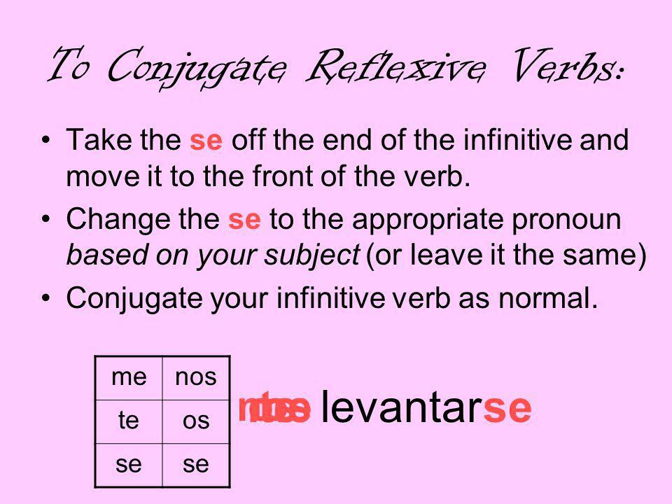 an To Conjugate Reflexive Verbs: Take the se off the end of the infinitive and move it to the front of the verb.