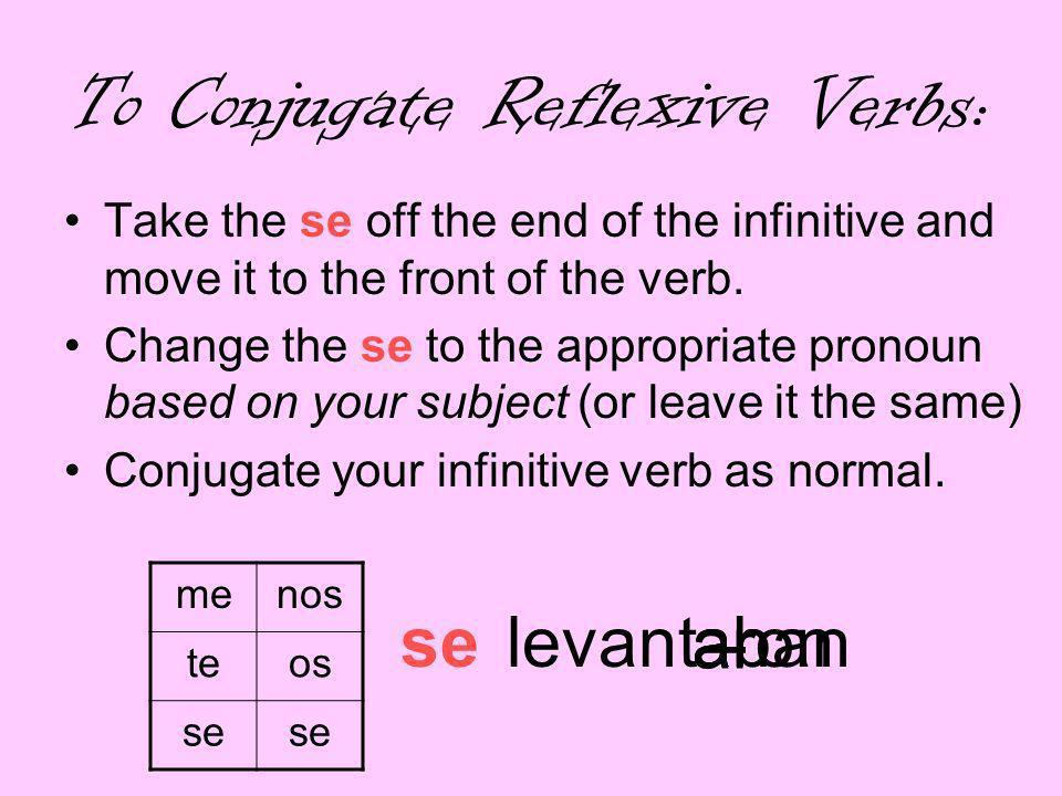To Conjugate Reflexive Verbs: me levanto te levantas nos levantamos os levantáis se levantase levantan