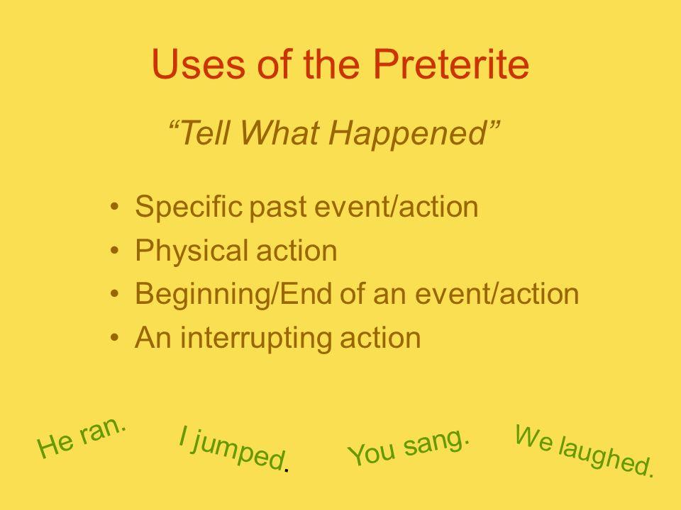 Conjugations of the Preterite Verbs that end in… -ar -er/-ir -é -aste -amos -ó -asteis -aron -í -iste -ió -imos -isteis -ieron