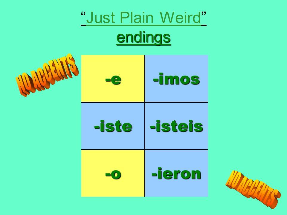 endingsJust Plain Weird endings-e-imos-iste-isteis -o-ieron
