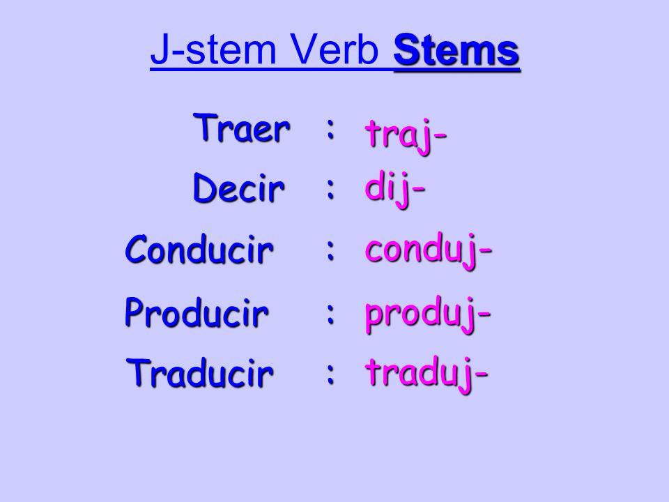 Stems J-stem Verb Stems Traer : traj- Decir : dij- Conducir : conduj- Producir : produj- Traducir : traduj-