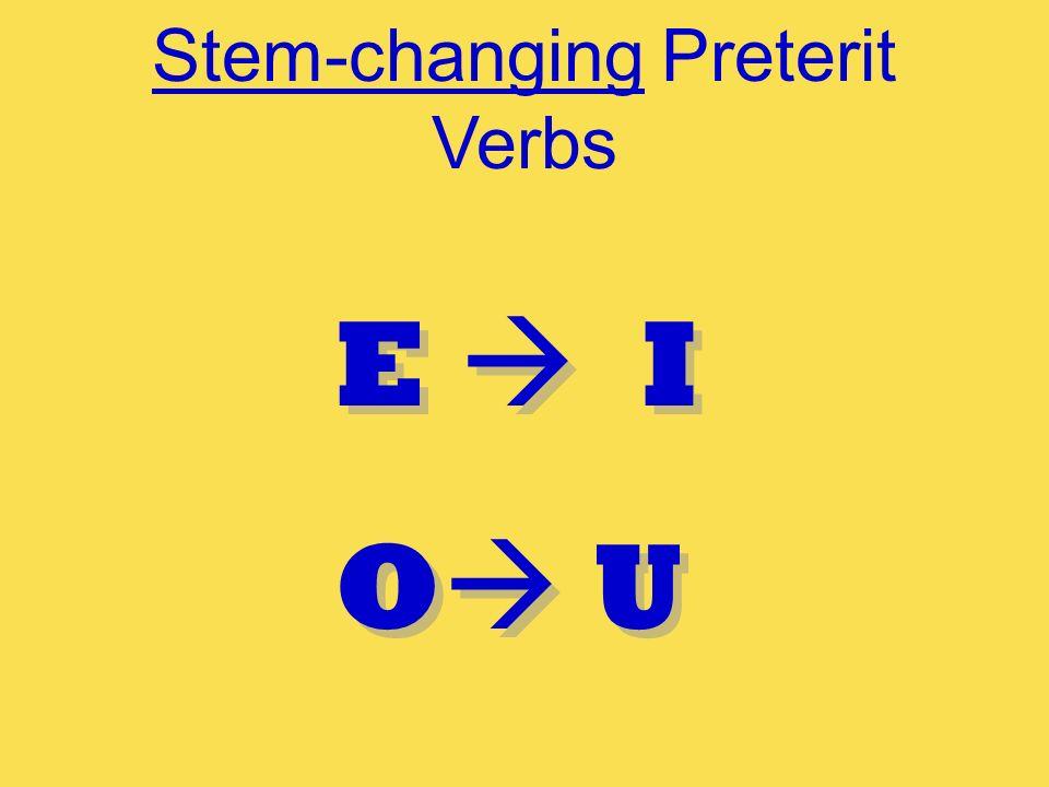 Stem-changing Preterit Verbs E I O U E I O U