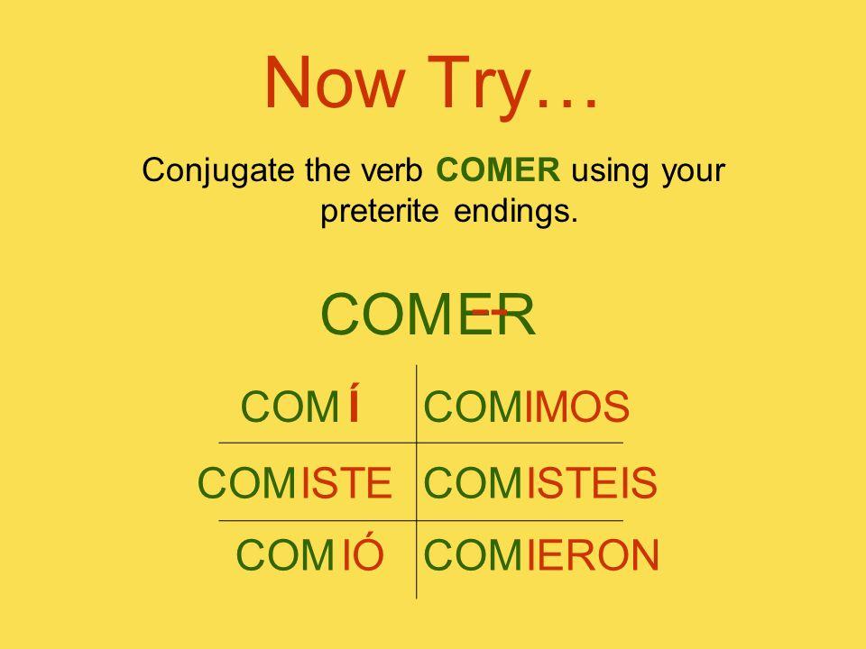 Now Try… Conjugate the verb COMER using your preterite endings. COMER -- COM Í COM ISTE COM IÓ COM IMOS COM ISTEIS COM IERON