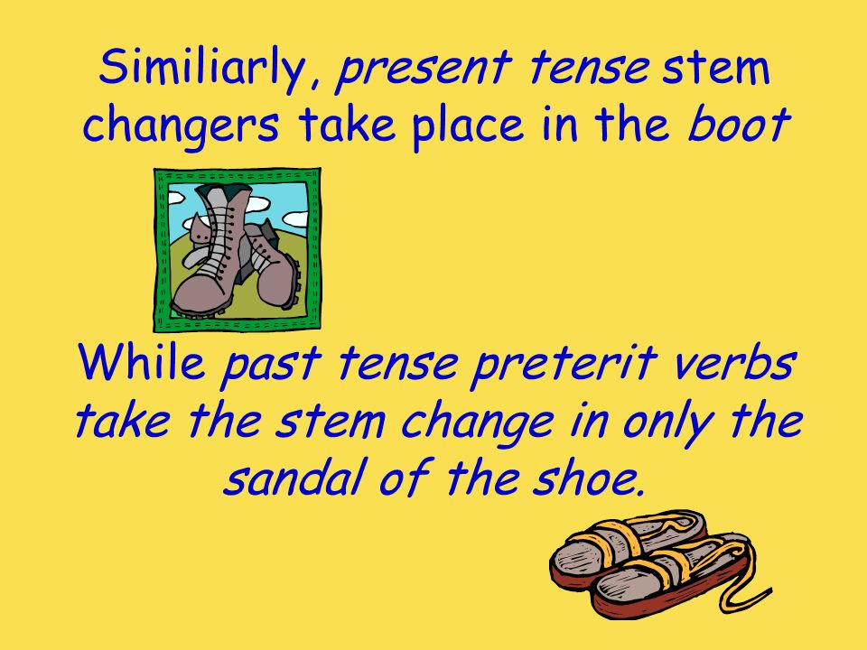 Similiarly, present tense stem changers take place in the boot While past tense preterit verbs take the stem change in only the sandal of the shoe.