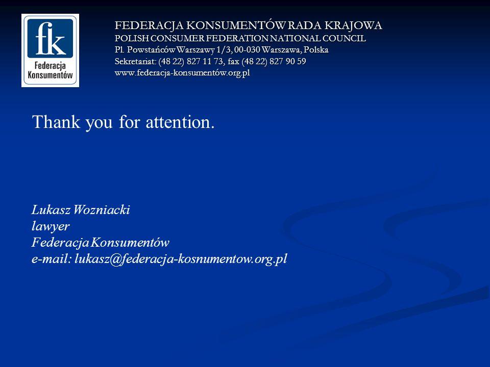 FEDERACJA KONSUMENTÓW RADA KRAJOWA POLISH CONSUMER FEDERATION NATIONAL COUNCIL Pl.