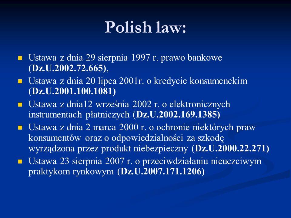 Polish law: Ustawa z dnia 29 sierpnia 1997 r.