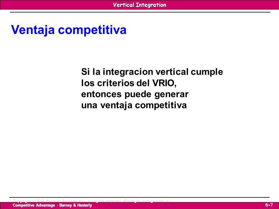 Vertical Integration Strategic Management & Competitive Advantage – Barney & Hesterly 8 Vertical Integration Copyright © 2006 Pearson Prentice Hall.