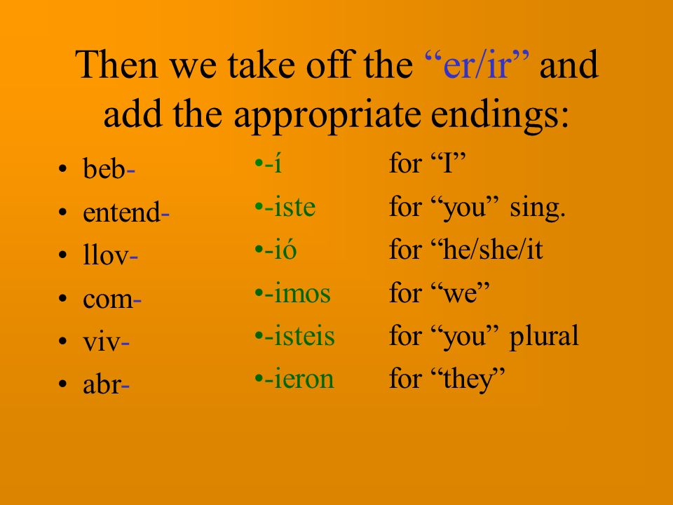 Now lets look at verbs that end in –er and -ir: beber (to drink) entender (to understand) llover (to rain) comer (to eat) vivir (to live) abrir (to open) These are all shown in the infinitive