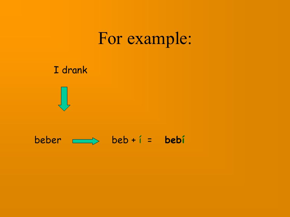 Then we take off the er/ir and add the appropriate endings: beb- entend- llov- com- viv- abr- -ífor I -istefor you sing.