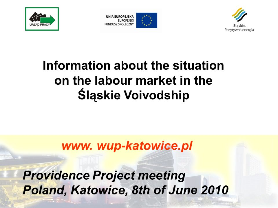 www. wup-katowice.pl Providence Project meeting Poland, Katowice, 8th of June 2010 Information about the situation on the labour market in the Śląskie