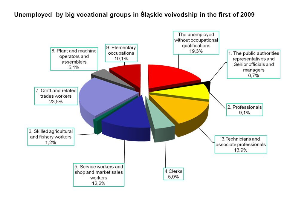 Unemployed by big vocational groups in Śląskie voivodship in the first of 2009