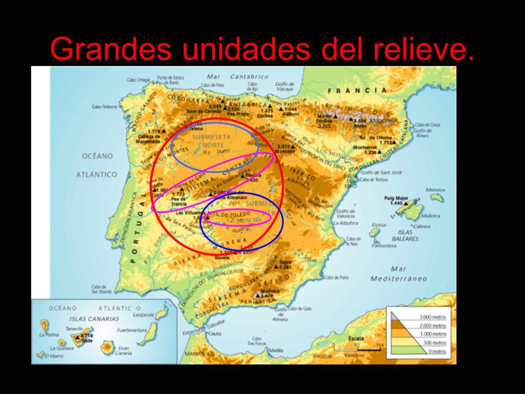 Unidades interiores: Rodeando la Meseta encontramos una serie de cordilleras interiores: Montes de León.