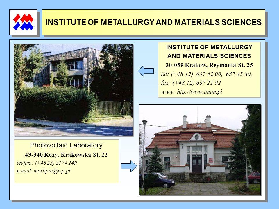 INSTITUTE OF METALLURGY AND MATERIALS SCIENCES INSTITUTE OF METALLURGY AND MATERIALS SCIENCES 30-059 Krakow, Reymonta St. 25 tel: (+48 12) 637 42 00,