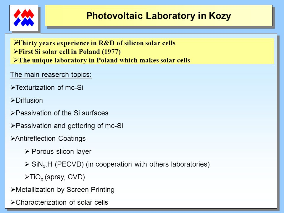 Photovoltaic Laboratory in Kozy T hirty years experience in R&D of silicon solar cells First Si solar cell in Poland (1977) The unique laboratory in P