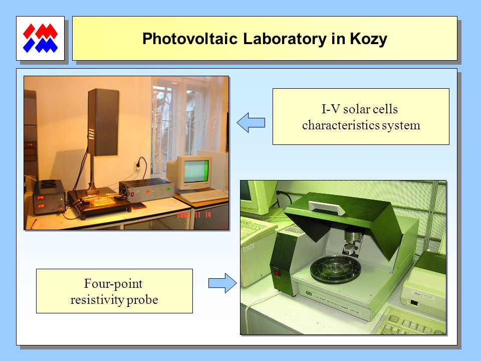 Photovoltaic Laboratory in Kozy I-V solar cells characteristics system Four-point resistivity probe