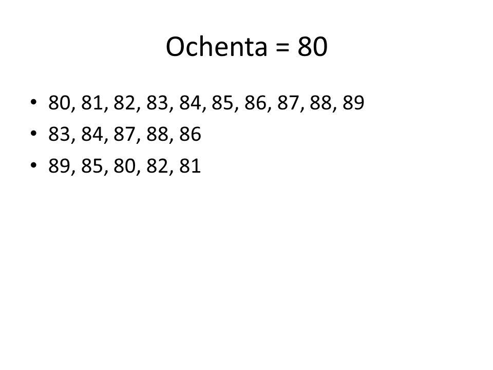 Ochenta = 80 80, 81, 82, 83, 84, 85, 86, 87, 88, 89 83, 84, 87, 88, 86 89, 85, 80, 82, 81