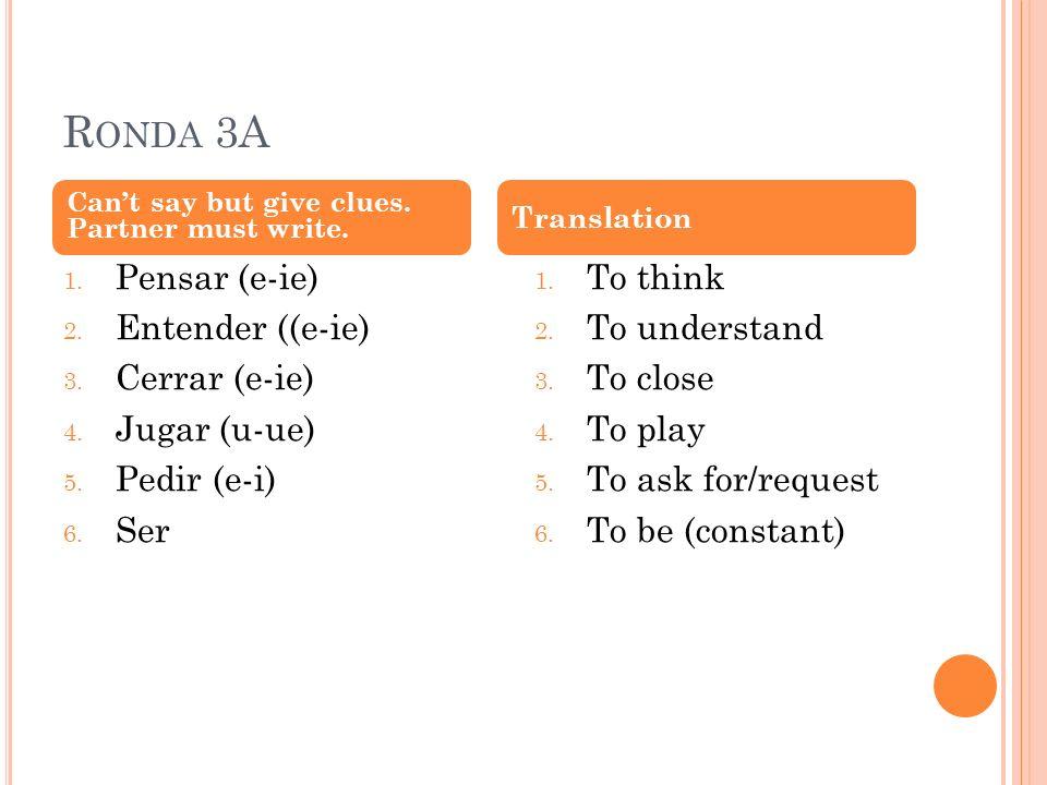 R ONDA 3A 1. Pensar (e-ie) 2. Entender ((e-ie) 3.