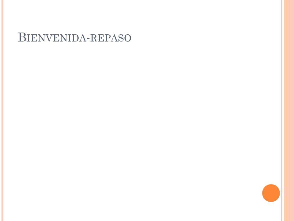 B IENVENIDA - REPASO