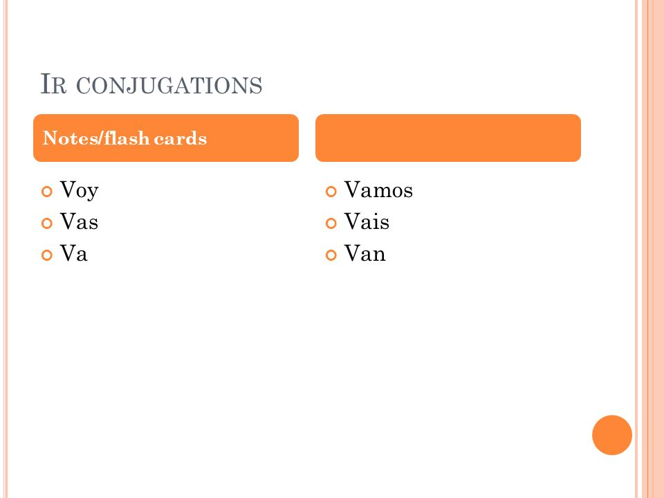 I R CONJUGATIONS Voy Vas Va Vamos Vais Van Notes/flash cards
