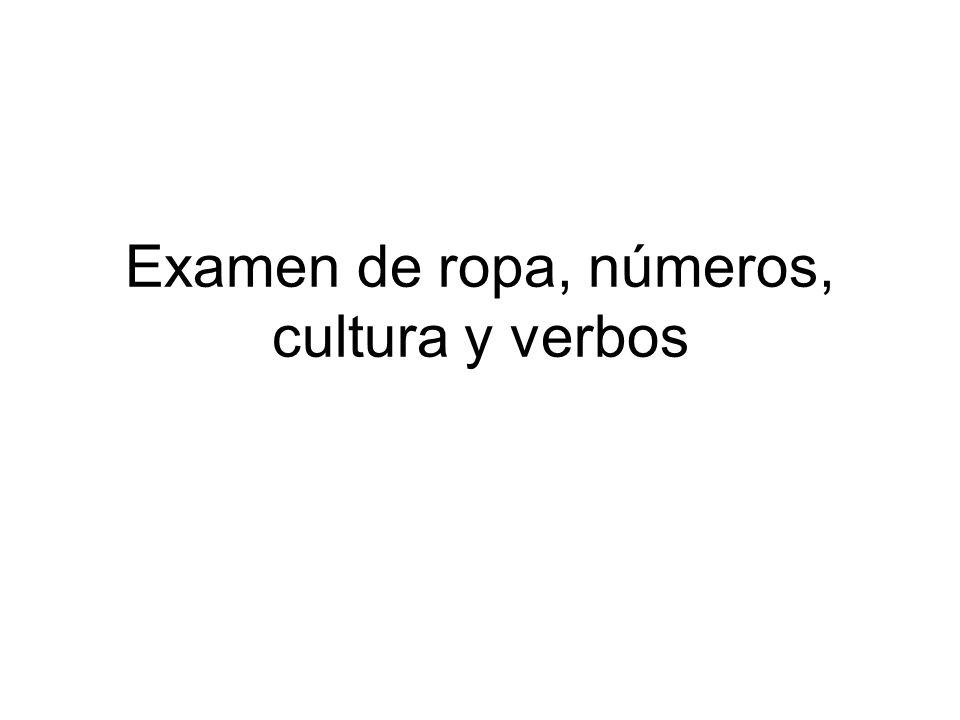Examen de ropa, números, cultura y verbos
