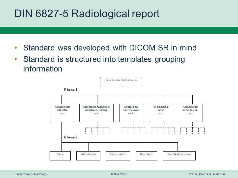 Department of RadologyRSNA 2006PD Dr. Thomas Hackländer DIN 6827-5 Radiological report Standard was developed with DICOM SR in mind Standard is struct