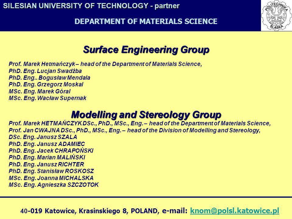 Surface Engineering Group Prof. Marek Hetmańczyk – head of the Department of Materials Science, PhD. Eng. Lucjan Swadźba PhD. Eng.. Bogusław Mendala P