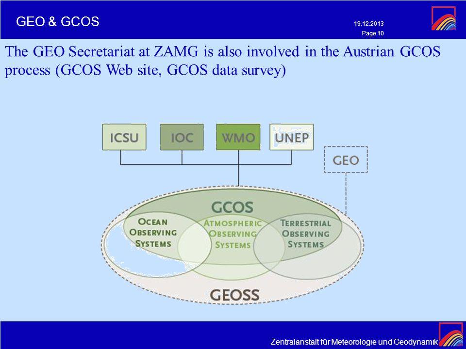 Zentralanstalt für Meteorologie und Geodynamik 19.12.2013 Page 10 GEO & GCOS The GEO Secretariat at ZAMG is also involved in the Austrian GCOS process