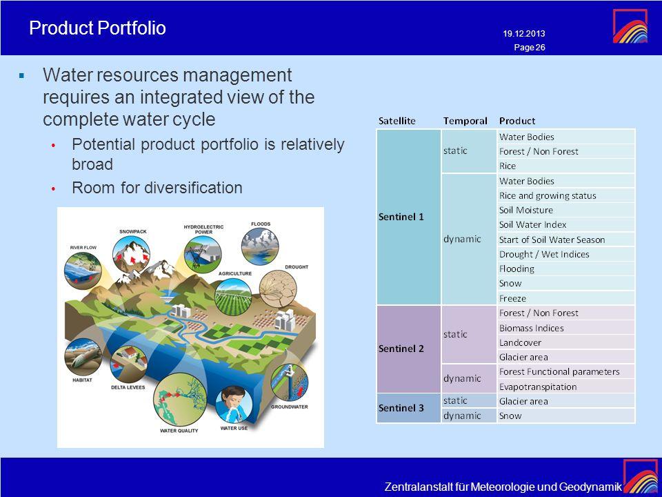 Zentralanstalt für Meteorologie und Geodynamik Product Portfolio 19.12.2013 Page 26 Water resources management requires an integrated view of the comp