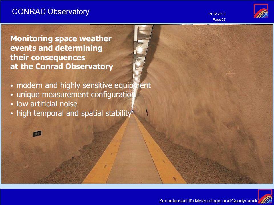 Zentralanstalt für Meteorologie und Geodynamik CONRAD Observatory 19.12.2013 Page 27