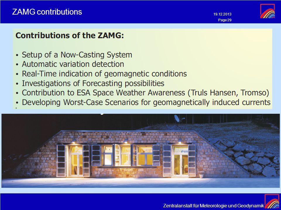 Zentralanstalt für Meteorologie und Geodynamik ZAMG contributions 19.12.2013 Page 29
