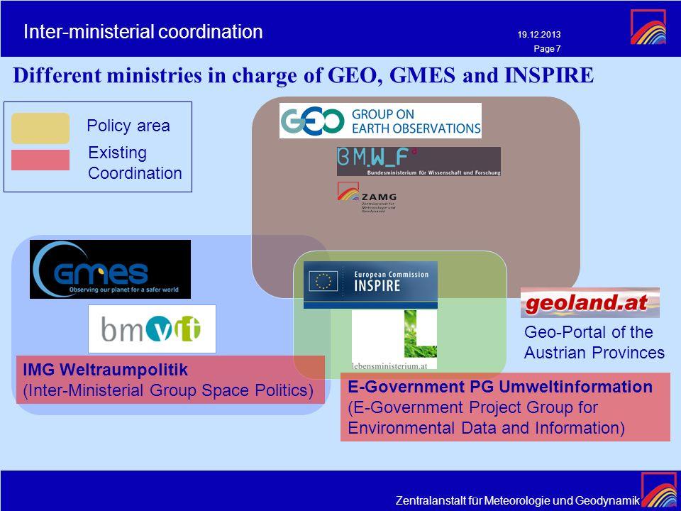 Zentralanstalt für Meteorologie und Geodynamik 19.12.2013 Page 7 Inter-ministerial coordination Different ministries in charge of GEO, GMES and INSPIR