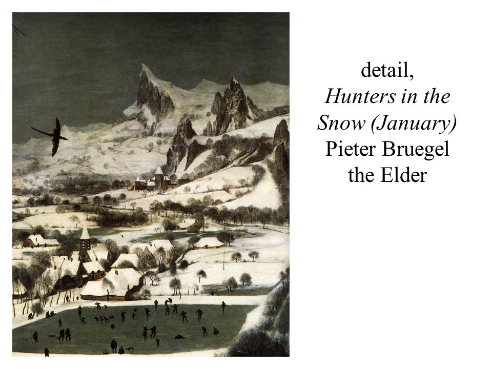 detail, Hunters in the Snow (January) Pieter Bruegel the Elder