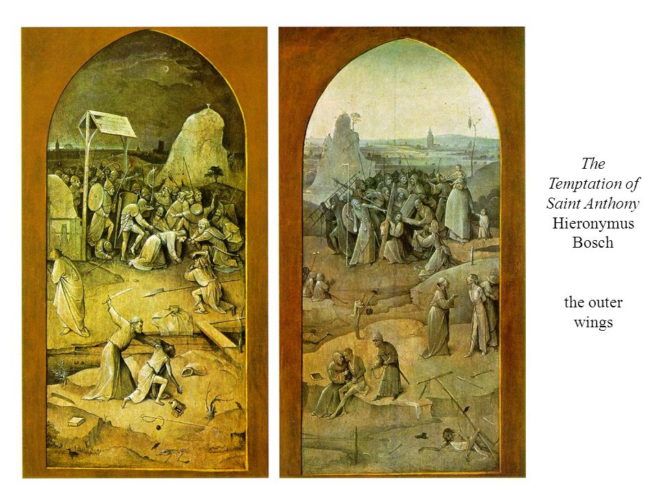The Temptation of Saint Anthony Hieronymus Bosch the outer wings