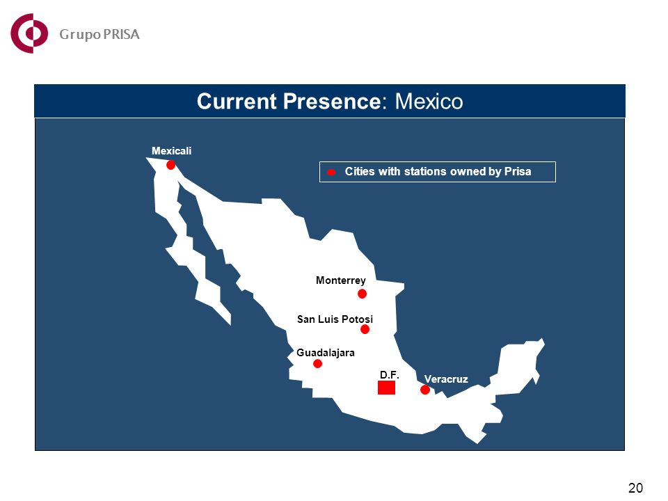 Current Presence: Mexico Mexicali Monterrey San Luis Potosi Guadalajara Veracruz D.F.