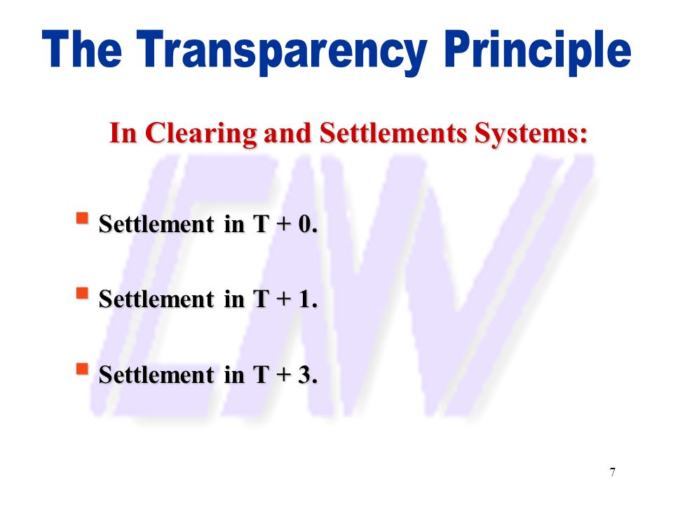 7 In Clearing and Settlements Systems: Settlement in T + 0. Settlement in T + 0. Settlement in T + 1. Settlement in T + 1. Settlement in T + 3. Settle