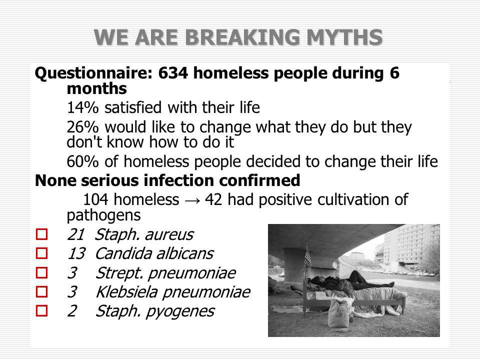 WE ARE BREAKING MYTHS Questionnaire: 634 homeless people during 6 months 14% satisfied with their life 26% would like to change what they do but they