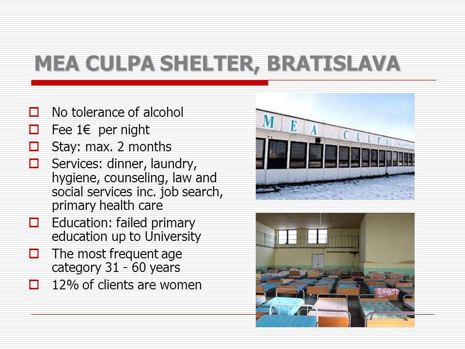 MEA CULPA SHELTER, BRATISLAVA No tolerance of alcohol Fee 1 per night Stay: max. 2 months Services: dinner, laundry, hygiene, counseling, law and soci