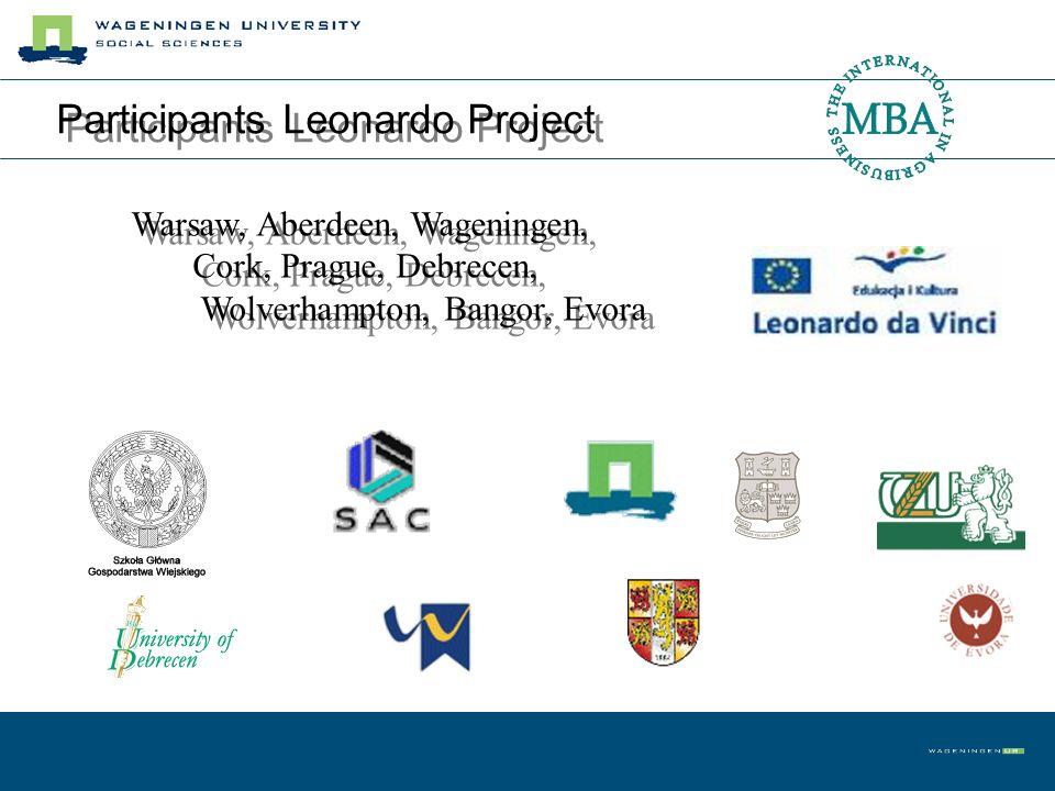 Participants Leonardo Project Warsaw, Aberdeen, Wageningen, Cork, Prague, Debrecen, Wolverhampton, Bangor, Evora Warsaw, Aberdeen, Wageningen, Cork, P