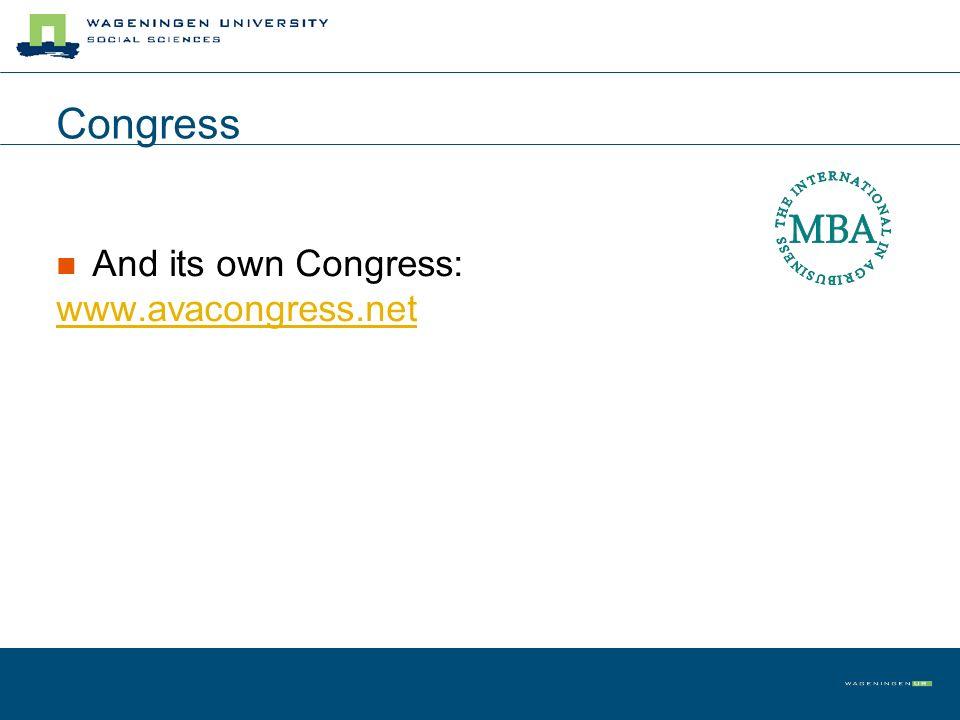 Congress And its own Congress: www.avacongress.net