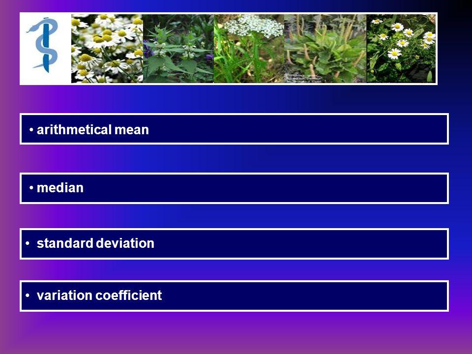 arithmetical mean median standard deviation variation coefficient