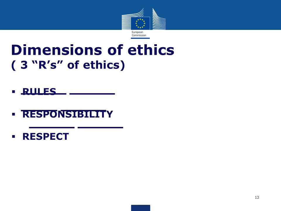 _____ _____ ____ _____ _____ _____ Dimensions of ethics ( 3 Rs of ethics) RULES RESPONSIBILITY RESPECT 13