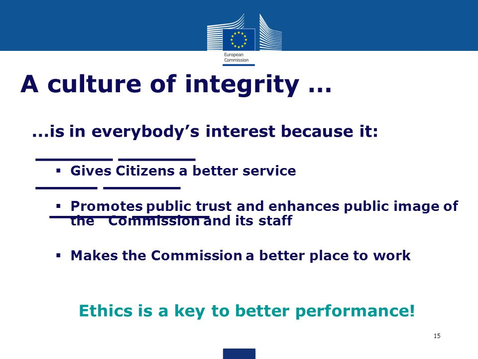 _____ _____ ____ _____ _____ _____ A culture of integrity …...is in everybodys interest because it: Gives Citizens a better service Promotes public tr