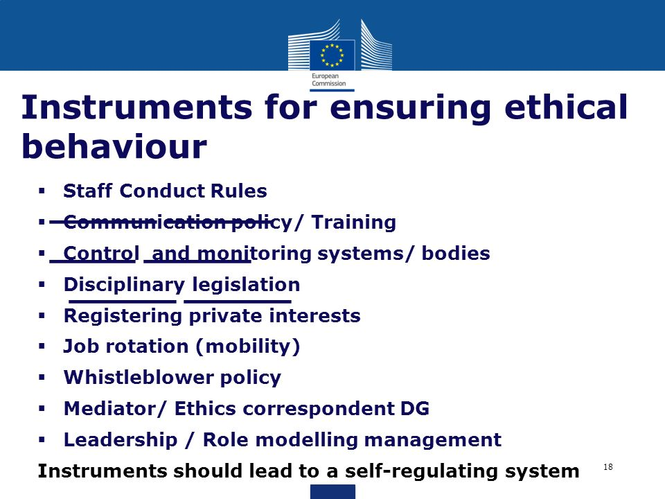 _____ _____ ____ _____ _____ _____ Instruments for ensuring ethical behaviour Staff Conduct Rules Communication policy/ Training Control and monitorin