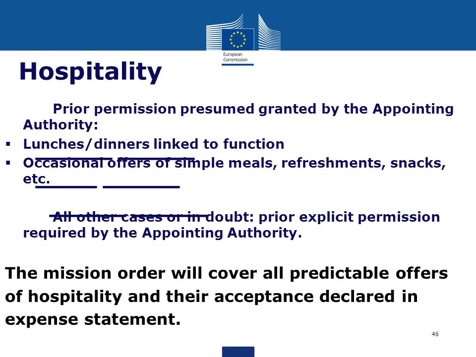 _____ _____ ____ _____ _____ _____ Hospitality Prior permission presumed granted by the Appointing Authority: Lunches/dinners linked to function Occas