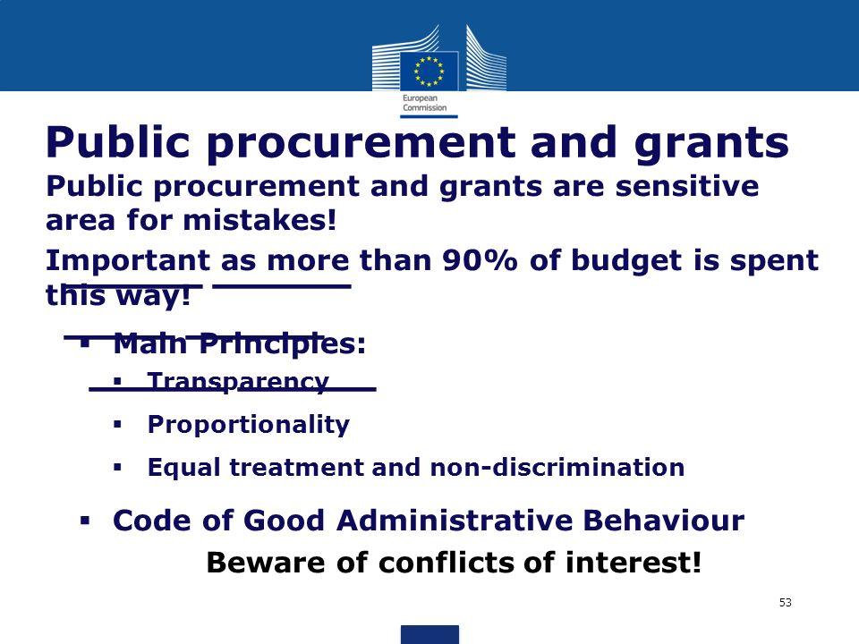 _____ _____ ____ _____ _____ _____ Public procurement and grants Public procurement and grants are sensitive area for mistakes! Important as more than