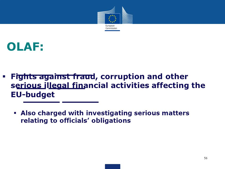 _____ _____ ____ _____ _____ _____ OLAF: Fights against fraud, corruption and other serious illegal financial activities affecting the EU-budget Also